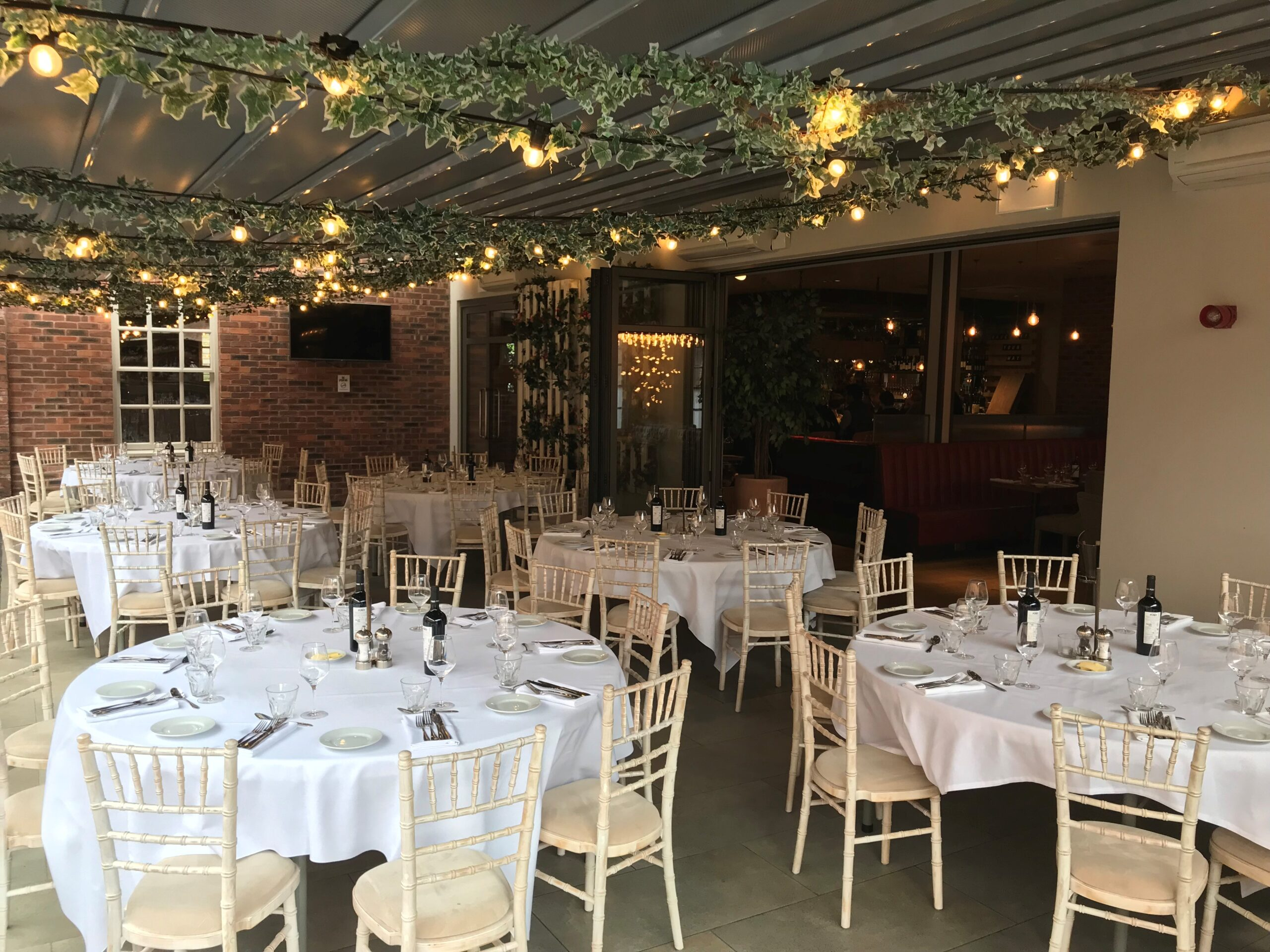 The Sun Terrace white wedding set up