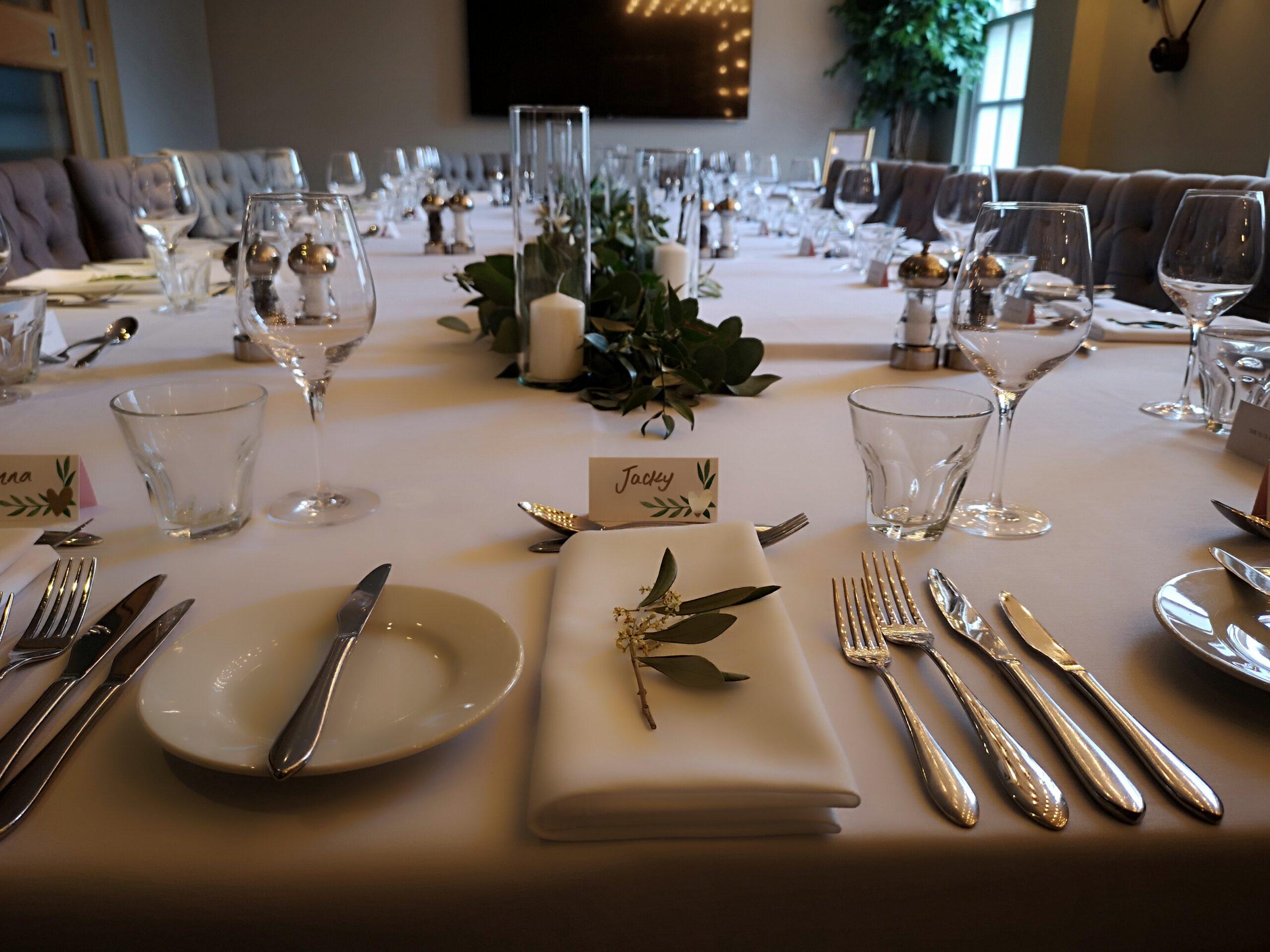Wedding table set up Saint Pauls